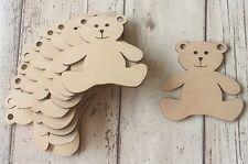 set of 10 laser cut wood mini teddies for embellishments unpainted