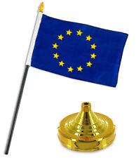 """Europe European Union Flag 4""""x6"""" Desk Set Table Stick Gold Base"""