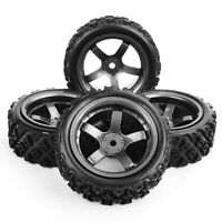 4PCS 1/10 RC Rally Racing Off Road Car Rubber Tyre Tires & Wheel rims 12mm Hex