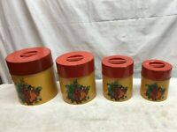Vintage COUNTERPOINT Canisters Metal Tin Yellow / Red Set Of 4 Fruit Pattern