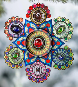 Wind and Weather Multi-Colored Glass Beaded Metal Spinner