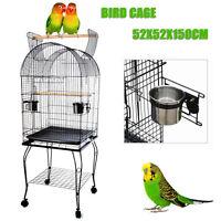 Parrot Aviary Bird Cage Pet Budgie Canary Parakeet Stand Wheel 52X52X150cm