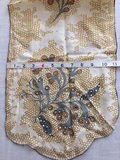 Vintage Silk ? Scarf Honeycomb Design Bejeweled Neutrals