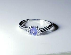 Pretty 10k White Gold Tanzanite & Diamond Ring, Size 7/ Anillo de Oro
