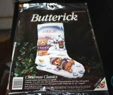 "Christmas Stocking Cross Stitch Kit Teddy Bears Snow Bear New 18"" --PPX"
