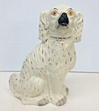 Antique Staffordshire Porcelain Enamel Spaniel Dog 13 3/4'' Height