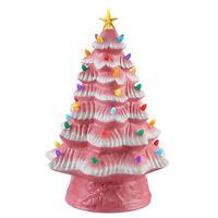 "NEW Mr. Christmas 16"" LED Retro Nostalgic Ceramic Christmas Tree PINK Light Up"
