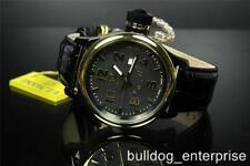 Mens Invicta Russian Diver Black Leather Gold Tone Swiss Made 52mm Watch New