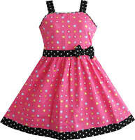Sunny Fashion Girls Dress Heart Print Pink Children Clothes Age 4-10