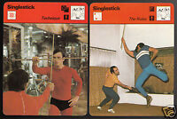 SINGLESTICK Wooden Sword Martial Arts Technique 1978 SPORTSCASTER 2 PHOTO CARDS