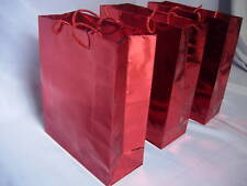 12 Red Metallic Paper Carrier/ Gift Bags 27cmx23x7.5cm