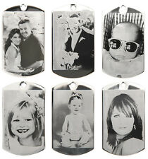 CUSTOM MADE PERSONALIZED BLACK & WHITE PHOTO ETCHING DOG TAG PICTURE PENDANT