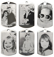 CUSTOM MADE PERSONALIZED PHOTO ETCHED DOG TAG PICTURE PENDANT WITH UV PROTECTION