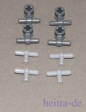 LEGO Technik - Pneumatik 4 x T-Stück hellgrau + 4 x Verbinder dunkelgrau NEUWARE