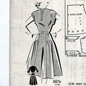 Vintage 1940s Sue Burnett SEW-RITE 1st Prize Sewing Pattern Drop Waist Dress 14