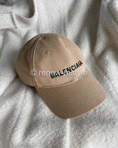 100% Authentic BALENCIAGA Mens Classic Embroidered Logo Cap Beige Size L BNWT
