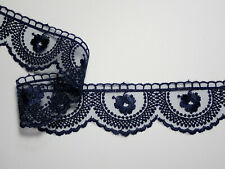 """Premium Quality Navy Blue Embroidered Tulle Lace Trim  1.75""""/4.5cm PER METRE"""