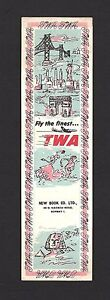 India vintage TWA bookmark