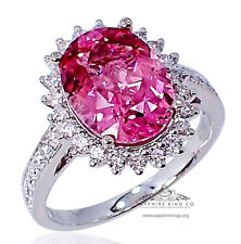 GIA 4.11 tcw 18kt Pink Oval Cut Natural Tourmaline & Diamond Custom Ring