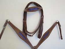 NEW LEATHER WESTERN HEADSTALL BRIDLE BREAST COLLAR TACK SET PRPL