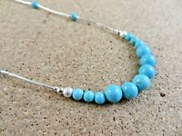 """Genuine Natural Blue Turquoise Liquid Sterling Silver 15"""" Choker Necklace #427"""