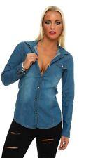 11051 Langarm Damen Jeans Bluse Hemdbluse Damenbluse Jeanshemd Jeansbluse