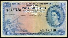 BRITISH CARIBBEAN TERRITORIES 2 DOLLARS 1961 P-8 VF (M-086)