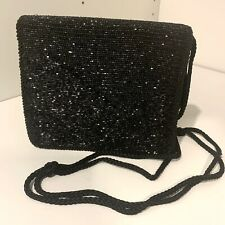 Vintage Diane von Furstenberg Black Satin Beaded Evening Bag Clutch