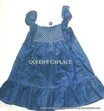 New Baby Gap girls 18-24 months Blue Chambray Ruffle denim dress 100% Cotton NWT