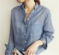 Women Casual Style Dress Cotton Linen Loose Long Sleeve Shirt Tops Blouse 3Color