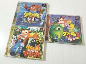Sony PlayStation PS1 Crash Bandicoot 2 & 3 + Racing Japan