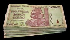100 x Zimbabwe 200 million Dollar banknotes-circulated currency bundle