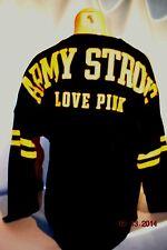 Victorias Secret Pink ARMY STRONG LOVE PINK Varsity Crew Sweatshirt NWT L