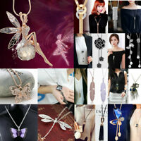 Women's Fashion Crystal Pendant Long Tassel Chain Sweater Necklace Jewelry Gift
