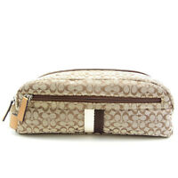 Coach Pouch Bag Signature Beige Brown Woman Authentic Used Y260