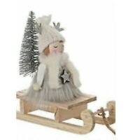 WOODEN SCANDI GIRL SLEDGE CHRISTMAS DECORATION ORNAMENT TREE GREY HANGING