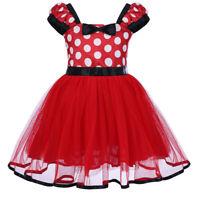Toddler Baby Girl Minnie Mouse Polka Dot Dress Tutu Skirt Birthday Party Costume