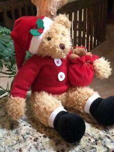 "AVON Sammy Santa Christmas Teddy Bear  14"" Plush"