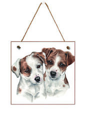 Gift-a-Card Jack Russell Pups. Hanging wooden Greetings Card
