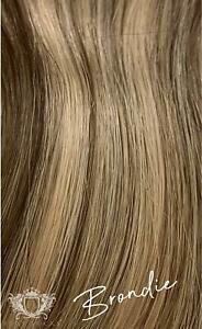 """Human Remy Clip In Hair Extensions - Elegant - Rooted Brondie -  14"""" - 120g"""