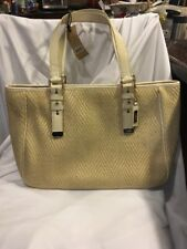 Cole Haan Kendra Herringbone Straw Soft Tote Bag Gold Leather Purse Shoulder