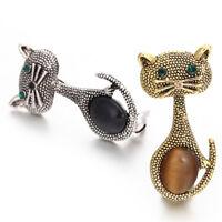 Ojo de gato piedra broche PIN animal broche collar clips boda óp*ws