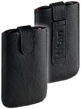 Titan Leder Tasche Etui Case für LG Optimus L5 2 E460 m. EasyOut schwarz