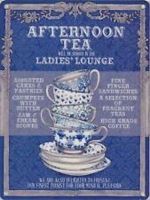 30x40cm Ladies' Lounge Afternoon Tea Vintage Enamel Style Tin Metal Sign