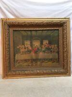Vtg Ornate Victorian Wood Chalk Frame Jesus LAST SUPPER Litho Print Religious