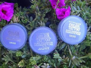 3 MAYBELLINE  COLOR TATTOO PURE PIGMENTS LOOSE 24 HR EYE SHAD0W 15 POTENT PURPLE
