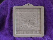 Brown Bag Paper Art Two Swans Ceramic Cookie Mold 1994