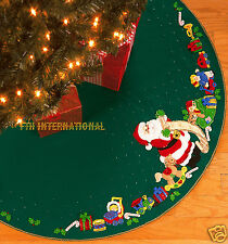 "Bucilla Santa's List ~ 43""  Felt Christmas Tree Skirt Kit #84857 Horse Toys Doll"