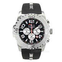 FILA Abissi Mens Chronograph Watch, Black Red Dial, Silicone Band, 200m/660ft WR