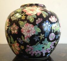 Famille Noir Million Flowers Rose Bowl Vase Jar Black Chinese Export Porcelain